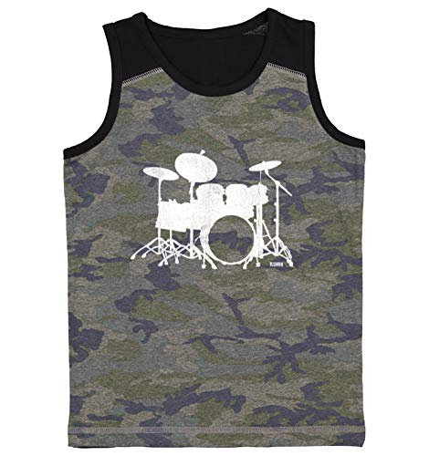 Drum Silhouette - Band Music Youth Contrast Back Tank Top (Camo Black, Large)