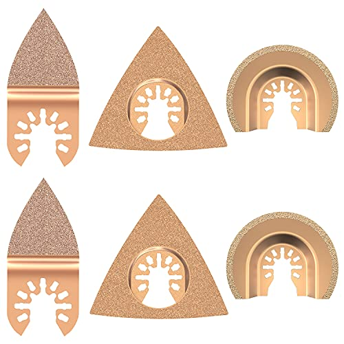 Juego de accesorios oscilantes Mix de hojas de sierra multiherramienta para plástico/madera/metal suave para Fein Multimaster Dremel Dewalt Makita Einhell (6 unidades)