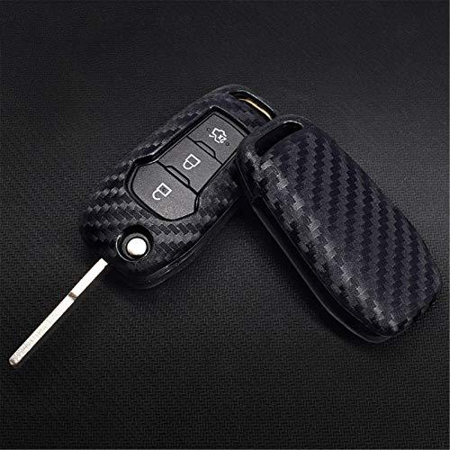 NkeGS Funda de Silicona con Textura de Fibra de Carbono para Coche, 2 Piezas, para Ford Focus 2 3 Mk2 Mk3 Fiesta Ranger Mondeo Mk4 FusionCar Styling