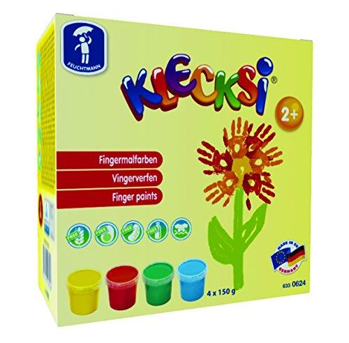 Feuchtmann 633.0624 - KLECKSi Fingermalfarbe Basic Mini, 4 Dosen à ca. 150 g, 4 hochwertige Farben für Kinder ab 2 Jahren, ideal für Kindergarten, Kita, Schule und Hort zum kreativen Spielen
