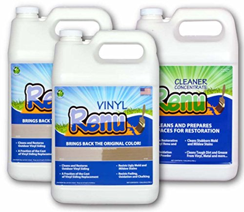 Vinyl Renu 2 Gallon Siding Restoration Kit Restores Color And Sheen To Faded Vinyl & Aluminum Siding. No-Mess Alternative To Paint. Lasts 10 Years. Faded Hardie Board, Stucco, Fiberglass Too!