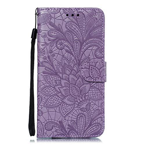 Funda de piel tipo cartera para Huawei P Smart+ 2019/Honor 10i, con función atril, cierre magnético, funda protectora con ranuras para tarjetas para Huawei P Smart Plus 2019 - DEEB020726, color morado