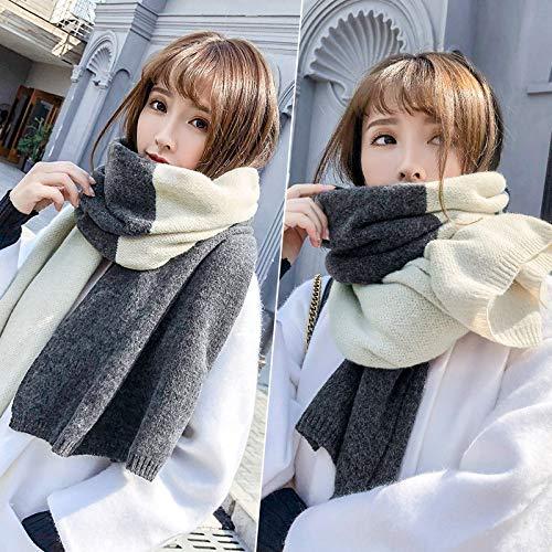 LIUQIAN Warp Tricot écharpe Broder Longue épaissi châle Chaud Laine tricoté Cou Femme Automne et étudiants Hiver 200 * 50cm