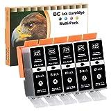 D&C 5x 21ml negra Cartuchos de tinta compatibles para Canon PGI-525 BK para Canon Pixma IP4840 IP4850 IP4900 IP4950 IX6550 MG5100 MG5140 MG5150 MG5200 MG5240 MG5250 MG5300 MG5340 MG5350 MG6100 MG6150