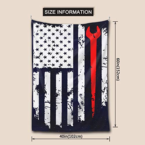 MVJ5GPGJ Ironworker American Flag Wall Tapestry with Art Nature Home Decorations for Living Room Bedroom Dorm Decor in 60x40 Inches