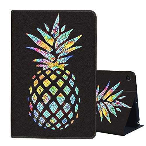 Case for All-New Amazon Fire HD 8 Tablet (2018/2017 Release-8th and 7th Generation),AIRWEE Slim Leather Stand Smart Cover with Auto Wake/Sleep,Colorful Pineapple
