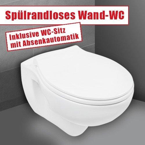 Wand-WC-Set Jonas | Spülrandlos | Inklusive WC-Sitz | Tiefspüler | Weiß | Spülrandlose Toilette | Spülrandloses Hänge-WC | Hängetoilette | Hygiene Plus | einfache Reinigung - 2