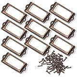 BLUECELL 10pcs 83 x 30mm Bronze Color Metal Office File Cabinet Shelves Drawer Name Card Label Holder Frames with Screws