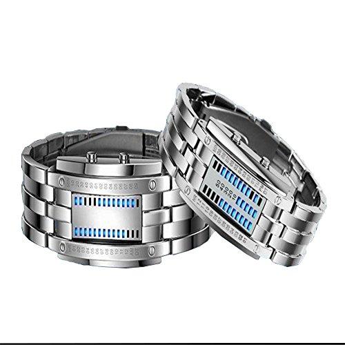 meijunter LED Watches Hommes imperméable en acier inoxydable Date Digital LED Bracelet Sport Montres (Couleur: Argent; Taille: L)