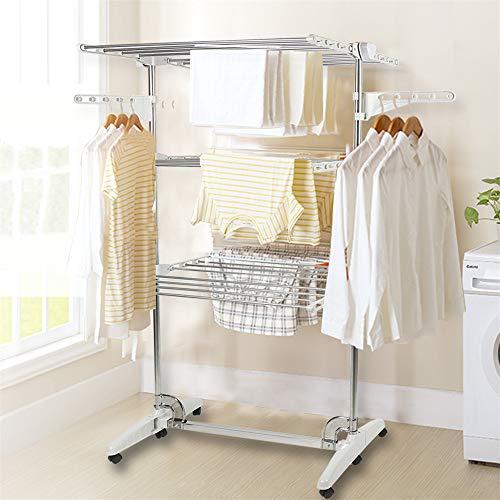 Turm Seitenflügel,Wäscheständer,Extra Large 3(4) Tier, Wäschetrockner, Edelstahl, für einfache Lagerung (3 Schichten)