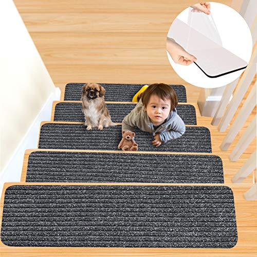 Stair Treads Carpet Non Slip, 15 Pieces 8 x 30-inches Carpet Stair Treads Indoor Stair Runners for Wooden Steps, Stair Carpet Treads Non-Slip Stair Rugs for Kids and Dog - with Non Skid Rubber Backing
