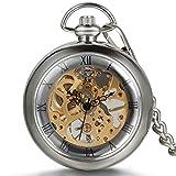 JewelryWe Reloj de Bolsillo mecánico Cuerda Manual, clásico Retro Reloj Bronce, Pantalla Dual Hueco, Reloj de Bolsillo Antiguo (G)