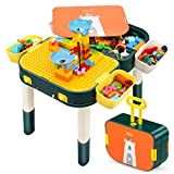 CIRO Toddler First Activity Table, Marble Run Building Block Table with Storage, Learning & Development Toys