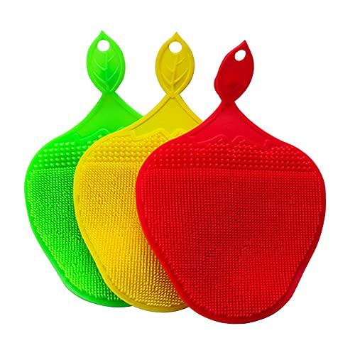 Eco Memos Esponja del Plato de Silicona 11.8 * 19.8 * 1,5 cm 3 unids Esponja de Silicona para Limpieza - Cepillo de Lavado de Platos para Lavavajillas de Esponja Reutilizable Cocina de Silicona