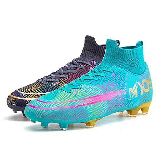 YUHAI Botas de fútbol para Hombres Mujeres con Cordones de lacios para jóvenes Zapatos de fútbol Profesional Zapatos,Long Nails N-38
