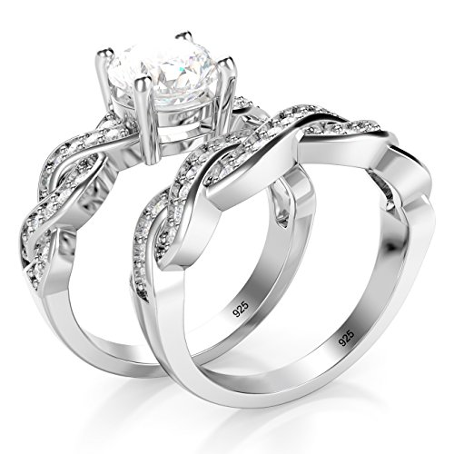 Metal Factory Sz 7 Sterling Silver 925 CZ Cubic Zirconia Infinity Wedding Engagement Ring Set