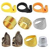 Dedal de Costura,CHENKEE 7 piezas Dedal de Costura Vintage Protector de Dedos Dedal Protector de Metal Ajustable para...