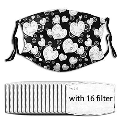 Black And White Valentine's Day Reusable Activated Carbon Filter Face Shield With 16 Filter Replaceable for Men Women