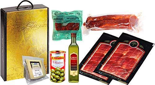 Lote con Jamón Ibérico, Lomo Embuchado, Chorizos Jabuguitos, Queso Curado, Aceitunas y...