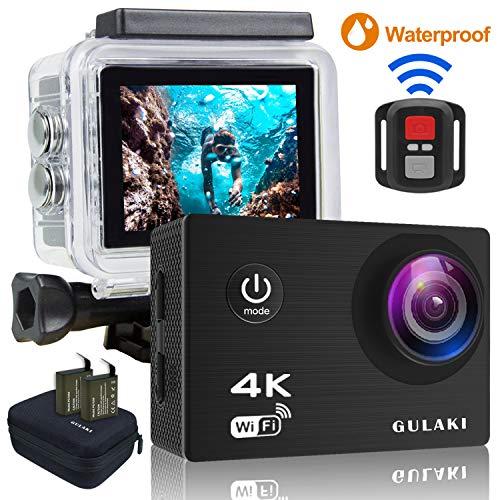 Caméra Sport 4K WiFi, Caméras d'action étanches GULAKI Ultra HD 2.0' Écran LCD 170 ° à Grand Angle avec capteur Sony - 2 Batteries PC 1050mAh et Kits d'accessoires à Distance 2,4 GHz