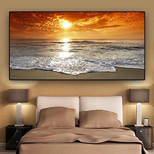Atardeceres, mar Natural, playa, paisaje, arte de pared, carteles, impresiones, lienzo, pintura, panorama, imagen de pared escandinava, 50x105cm sin marco