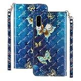 Ancase Custodia Portafoglio per Samsung Galaxy A70 Flip Cover in Pelle aLibro 3D Modello Wallet Case Porta Carte per Donna Ragazza Uomo - Farfalla Oro Blu