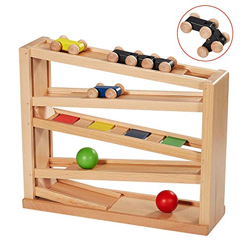 LUEUR Wooden Car Ramp Racer Toddlers Race Track Toy Ball Track with 3 Wooden Cars and 2 Balls for 3 4 5 Year Old Boy and Girl Gifts