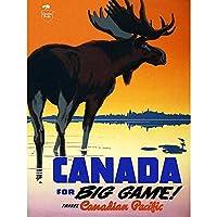 ポスター 旅行カナダ太平洋鉄道ムースカナダビッグゲームヴィンテージ A3サイズ [インテリア 壁紙用] 絵画 アート 壁紙ポスター
