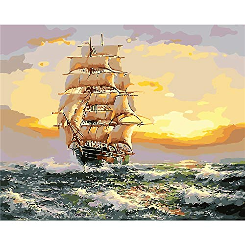 """BAISITE Paint by Numbers for Adults,16""""Wx20""""L Canvas Pictures Drawing Paintwork with Paintbrushes,Acrylic Pigment-Sailing Ship 8183"""
