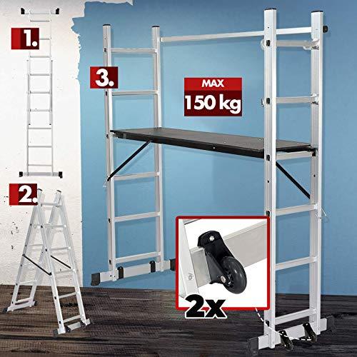 Fahrgerüst – klappbar, Aluminium, Plattform Sperrholz, Arbeitshöhe 300 cm, max. bis 150 kg belastbar, mit Geländer und Rollen - Arbeitsgerüst, Baugerüst, Multifunktionsleiter, Arbeitsbühne