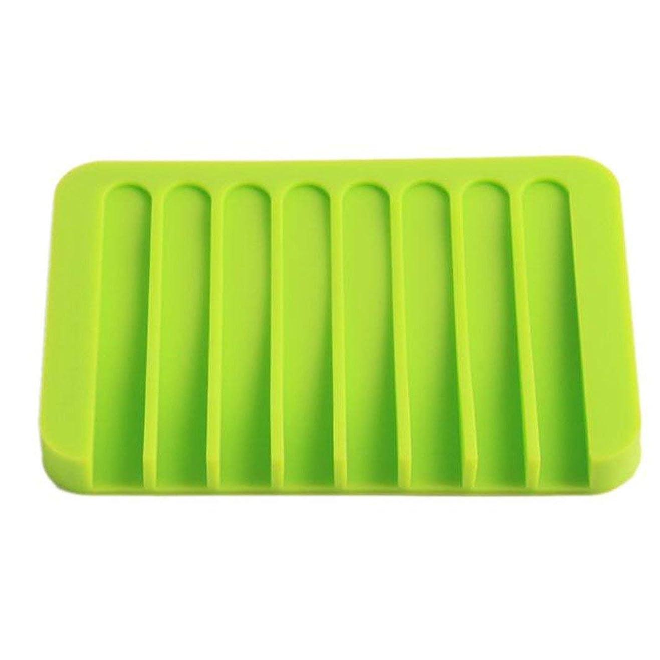 機会凍る合併症Onior プレミアム品質のシリコーン浴室柔軟な石鹸皿ソープホルダー収納ソープボックスプレートトレイ排水、グリーン