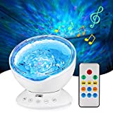 Ocean Wave Projector Lamp Night Light with Remote Control Music Speaker for Bedroom Living Room (White)
