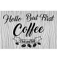 オリジナルのレトロなデザインのティンメタルサインウォールアート|こんにちはしかし最初のコーヒー|厚いブリキプリントポスターの壁の装飾カフェ/キッチン/コーヒーコーナー
