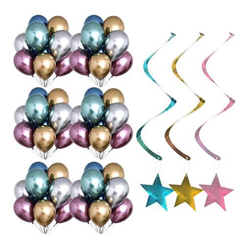 Heiqlay Globos Metálicos Látex Globos, Confeti con Forma de Estrella Adornos de Espirales Estrella, Decoración de la Fiesta Cumpleaños de Bodas (50 Piezas de Globos + 18 Piezas de Estrella Colgante)