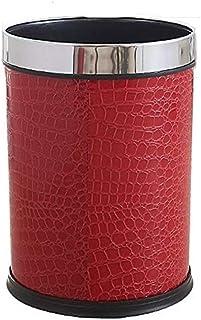 ZXJshyp Waste Bin Fashion Creative Leather Household Trash Can, Bathroom Bedroom Leather Cover Round Trash Bin Red Dustbin