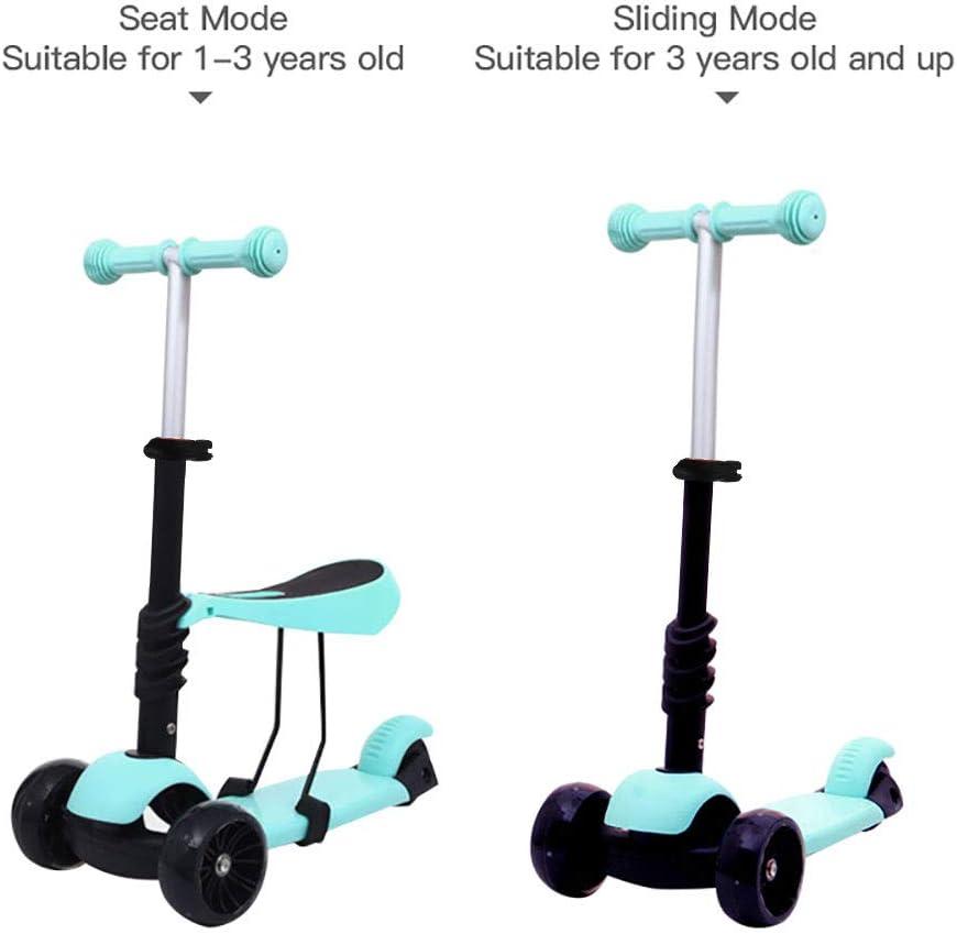 Arkmiido Scooter per Bambini con Sedile Rimovibile 3-in-1 Scooter per Bambini Regolabile in Altezza con Ruote Leggere Scooter per Bambini e Ragazzi