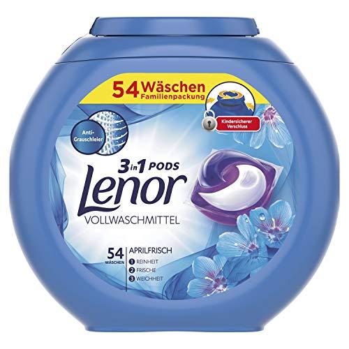 Lenor 3-in-1 PODS Vollwaschmittel Aprilfrisch, für Reinheit, Frische und Weichheit, 54Waschladungen