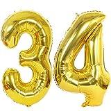 2 Ballons Numero 34 Or, Ouceanwin Géant Ballon Chiffre 34 Numero Ballons Feuille 40 Pouces Helium Ballons Gonflable pour 34 Ans Anniversaire Décorations de Fête Femme Homme (100cm)