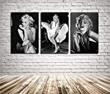 Marilyn Monroe Wall Art Home Wall Decorations for Bedroom Living Room Oil Paintings Canvas Prints 304 (Unframed,16x24inchx3)