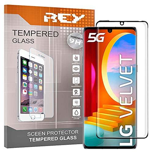 REY Pack 2X Pellicola salvaschermo 3D per LG Velvet 5G, Nero, Vetro temperato, Copertura Completa, Pellicola Protettiva Protezione Schermo, 3D / 4D / 5D