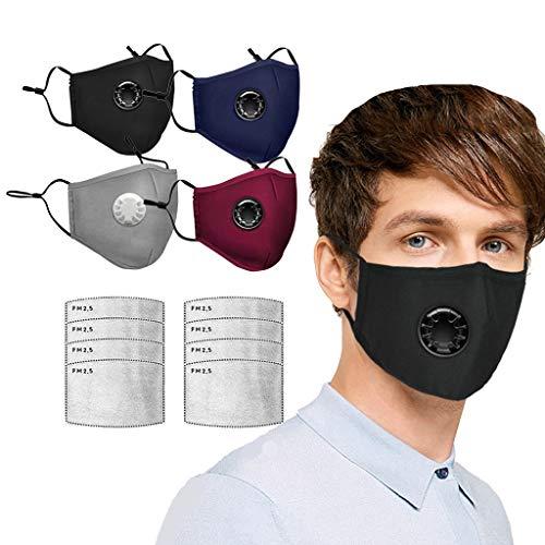 BBring 4 Stück Face Schal mit 8 Stück Filtern, Unisex Adult Bandana Gesichtsgesundheitsschutz Aktivkohlefilter Ersatz Staubdunst Sport Outdoor, mit Atemventilen