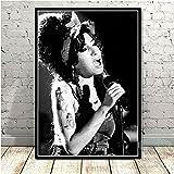 meishaonv Noir Blanc Amy Winehouse Concert Musique Chanteur Star Photo Affiche Toile Peinture Art Photo Salon Décor À La Maison A2839 50 × 70CM sans Cadre