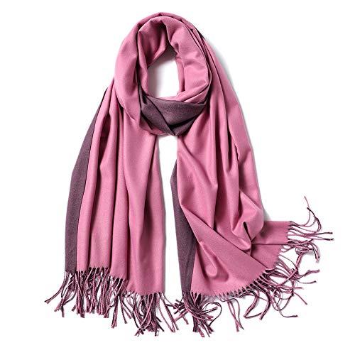 SOJOS Beidseitig Farbig Reversible Kaschmir Wolle Damen Schal Schals Poncho SC302 Rosa Grau
