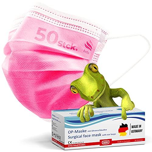 kela, 50 Stck. OP - Maske pink rosa, 100% Made in Germany, medizinische Mund Nasenschutzmaske, chirurgische Einweg-Maske, CE zertifiziert, DIN EN 14683 Typ IIR, BFE 99,88%, 3-lagig,… (50)