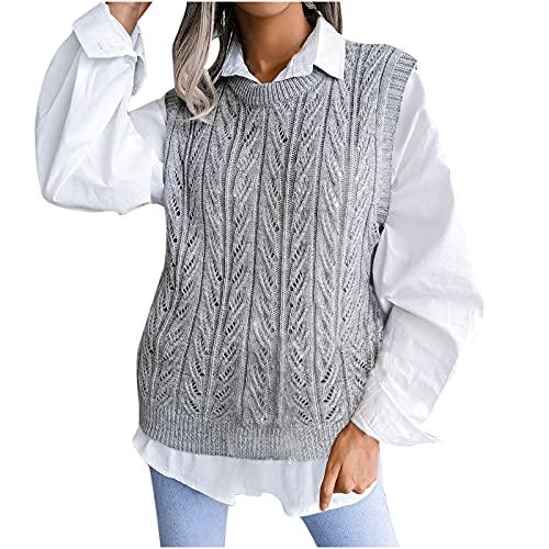 UEsent Jersey chaleco de mujer con cuello en V, sudadera, moda chaleco de punto hueco de diamante argyle a cuadros chaleco otoño jersey corto sin mangas, Color gris., S