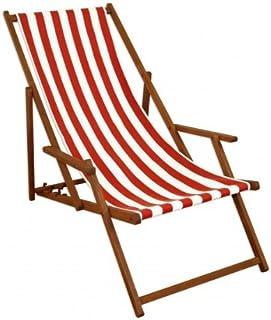 Sedia a Sdraio a Righe Bianco-Rossa con braccioli in Faggio