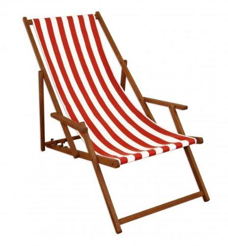 Sedia a Sdraio a Righe Bianco-Rossa con braccioli in Faggio per Spiaggia-Piscina 10-314