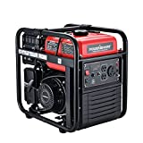 PowerSmart 4400W Open Frame Inverter Generator, 3500W Rated Gas Outdoor Generator, Silent Generator, CARB Compliant, Single-cylinder Forced Air Cooling System, Home Backup, Red/Black, PS5040