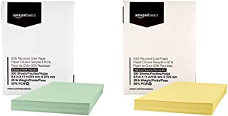 AmazonBasics 50% Recycled Color Paper - Green, 8.5 x 11 Inches, 20 lbs, 1 Ream (500 Sheets) & 50% Recycled Color Paper - Yellow, 8.5 x 11 Inches, 20 lbs, 1 Ream (500 Sheets)