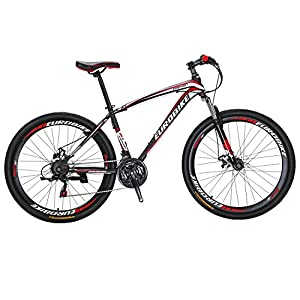 Mountain Bikes Eurobike X1 Mountain Bike 21 Speed Dual Disc Brake 27.5 Wheels Suspension Fork Mountain Bicycle
